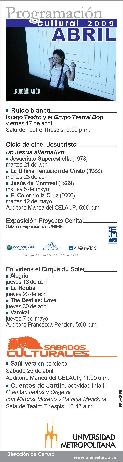 programacion-unimet-abril-2009