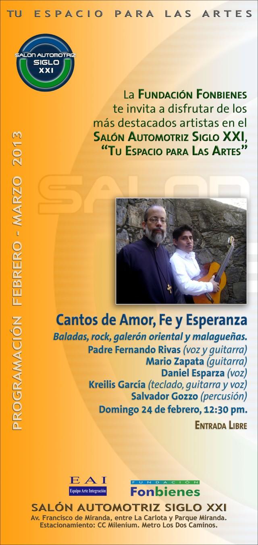 Invitacion Cantos de Amor Fe y Esperanza en el SASXXI