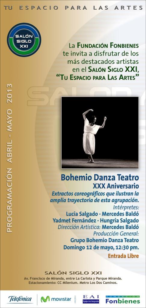 Invitacion Bohemio Danza Teatro en Salon Siglo XXI
