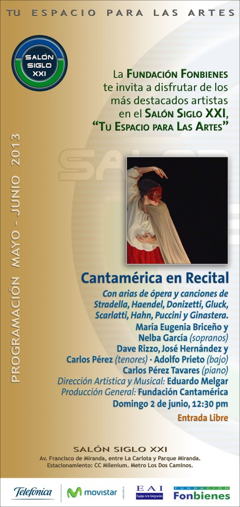 Invitacion Cantamerica en el Salon Siglo XXI 2013
