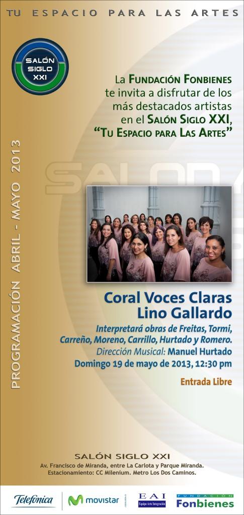 Invitacion Coral Voces Claras Lino Gallardo en el SASXXI