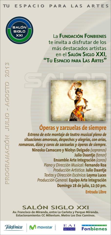 Invitacion Operas y zarzuelas de siempre en el SASXXI