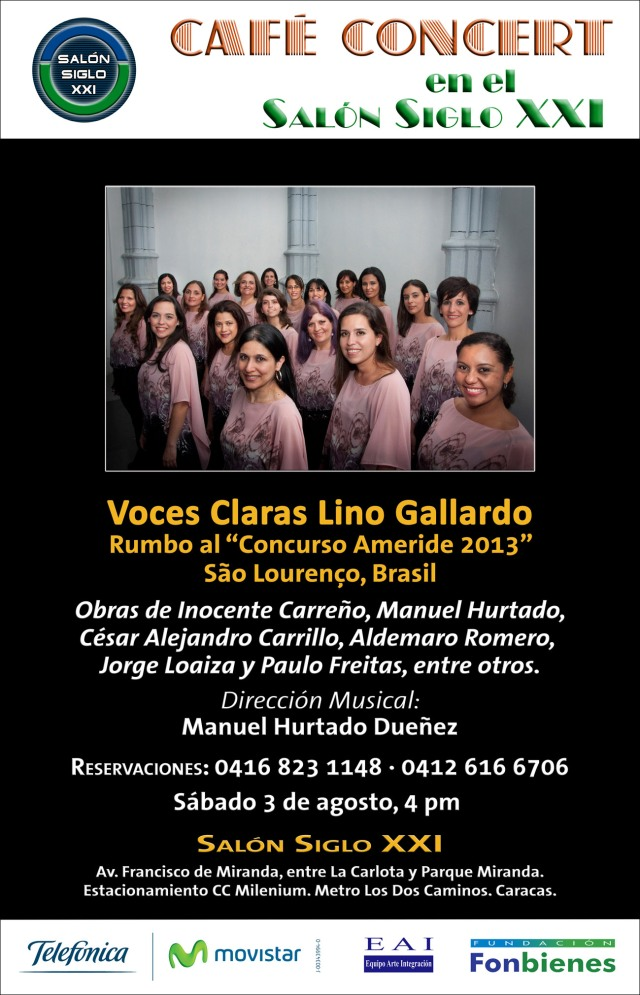 Invitacion Voces Claras Lino Gallardo en Cafe Concert