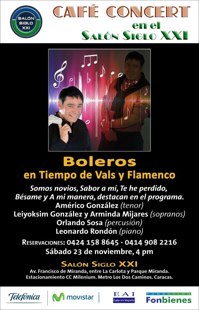Invitacion Boleros en Tiempo de Vals y Flamenco en Cafe Concert