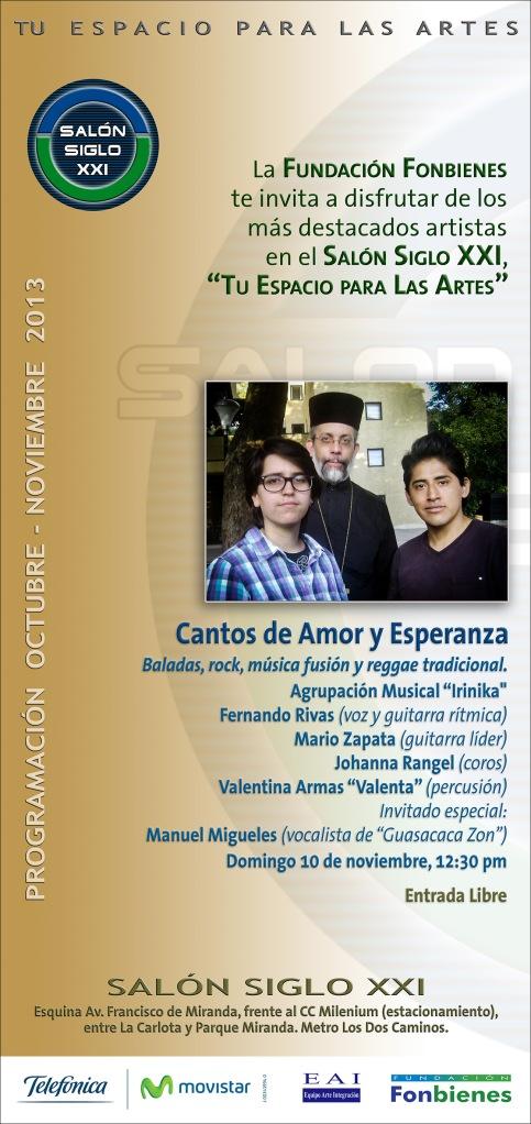 Invitacion Cantos de Amor y Esperanza en el SASXXI