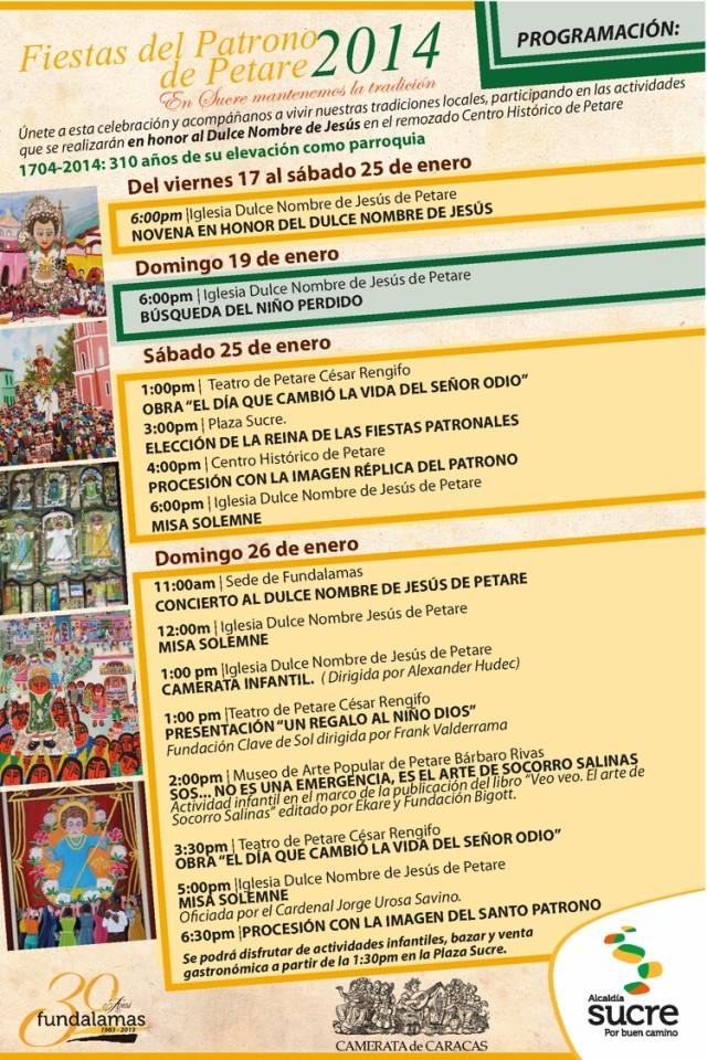 2014.01.26 FIESTAS DEL PATRONO DE PETARE Programación