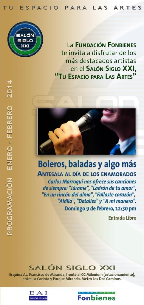 Invitacion Boleros y baladas en el Salon Siglo XXI